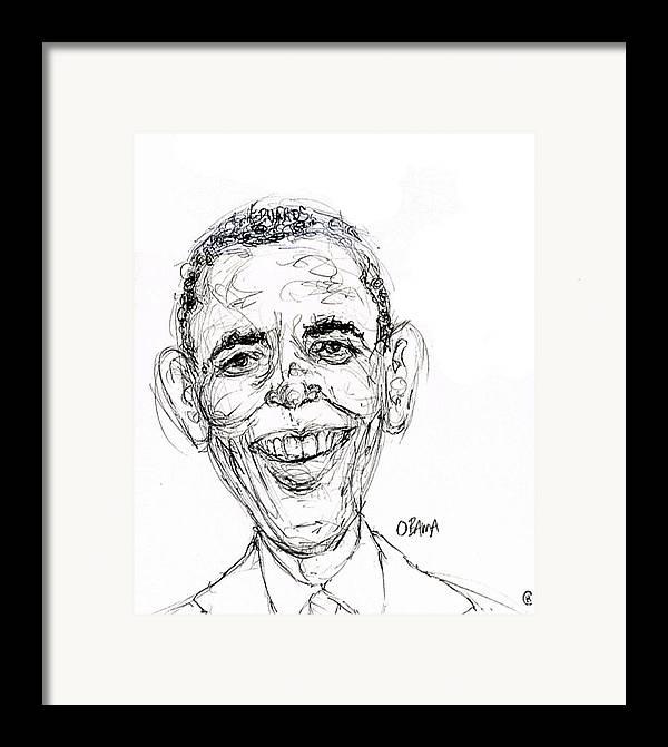 Caricature Satire Political Cartoon Politics Framed Print featuring the drawing Barack Obama by Cameron Hampton PSA