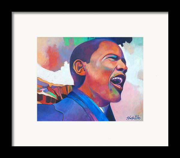 President Framed Print featuring the painting Barack Obama by Glenford John