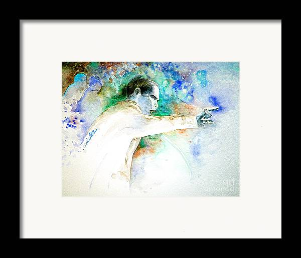 Portrait Barack Obama Framed Print featuring the painting Barack Obama Pointing At You by Miki De Goodaboom