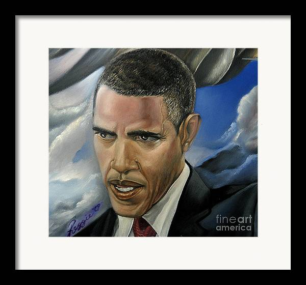 President Of The Usa Framed Print featuring the painting Barack by Reggie Duffie