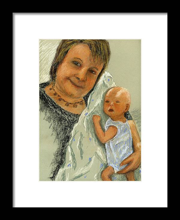 Grandmother Framed Print featuring the painting Barb And Jacob by Marina Garrison
