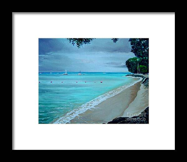 Landscape Framed Print featuring the painting Barbados by Elizabeth Robinette Tyndall