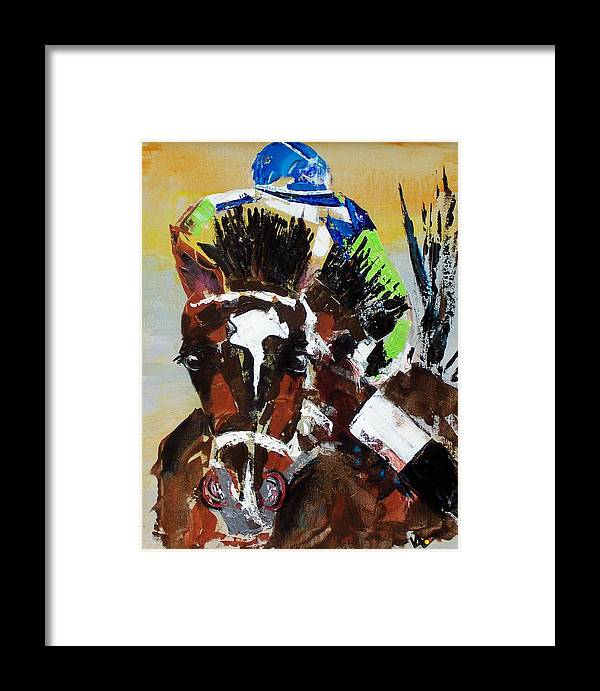 Barbaro Framed Print featuring the painting Barbaro Runs by Valerie Wolf