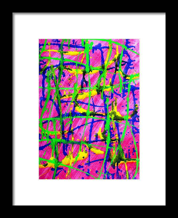 Abstract Framed Print featuring the painting Barbed by Lourdes SIMON