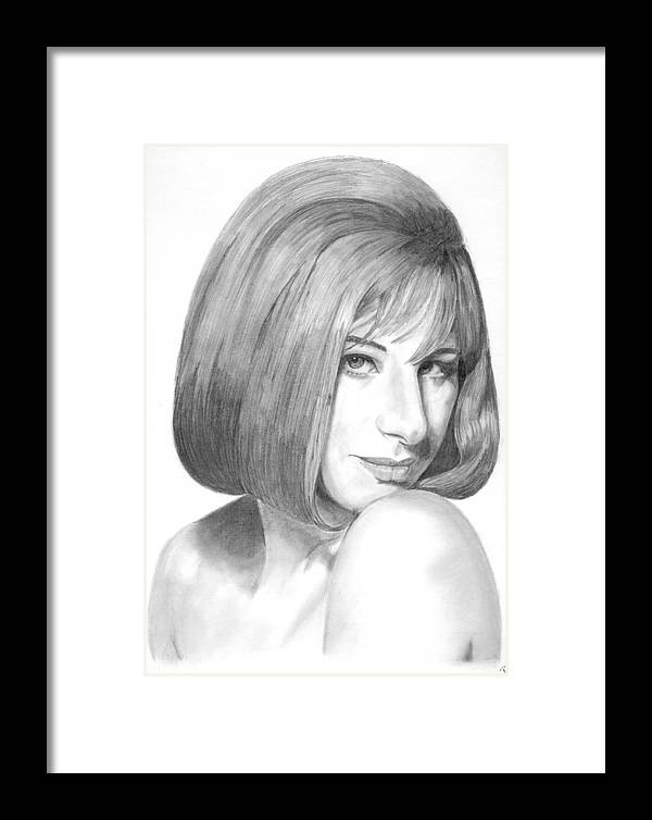 Singer Framed Print featuring the drawing Barbra Streisand by Rob De Vries