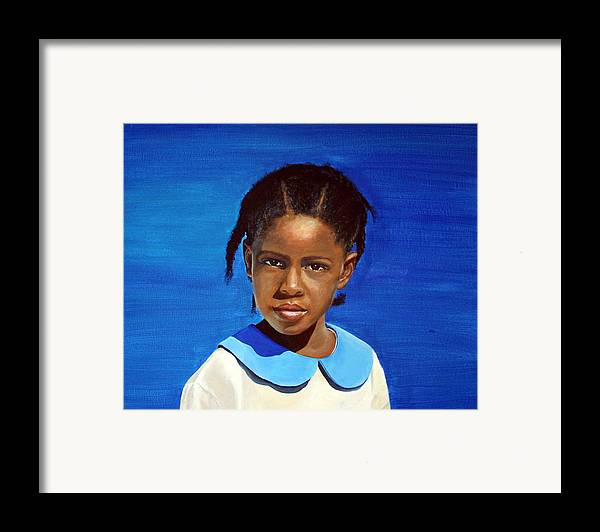 Portrait Framed Print featuring the painting Barbuda School Girl by Fiona Jack