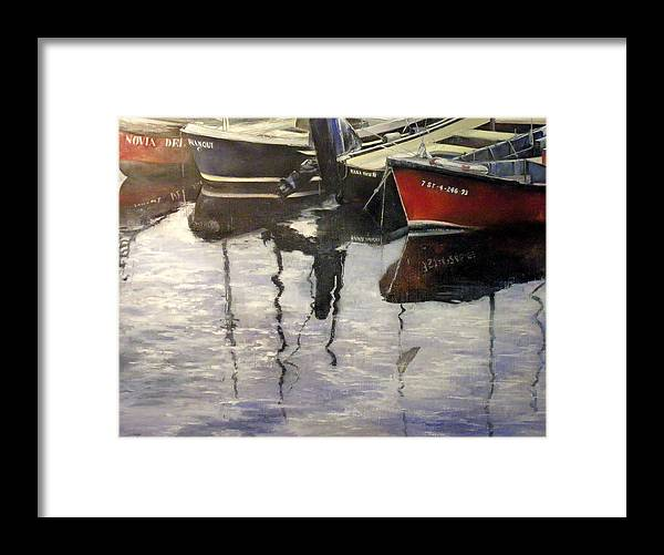 Arte Framed Print featuring the painting Barcas en puertochico-Santander by Tomas Castano