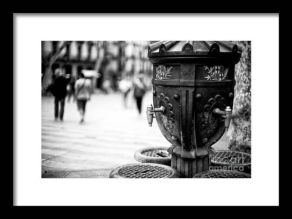 La Rambla Drinking Fountain Framed Print featuring the photograph Barcelona Drinking Fountain by John Rizzuto