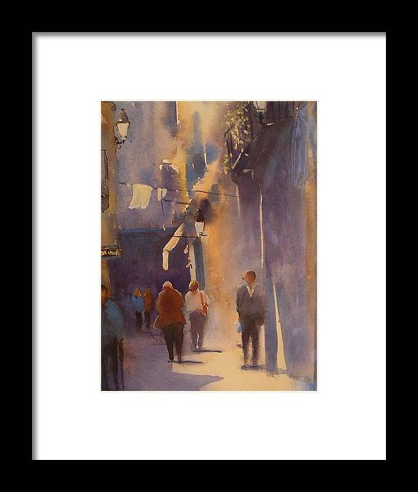 Urban /cityscape21 Framed Print featuring the painting Barcelona Shadows by Margaret Kent