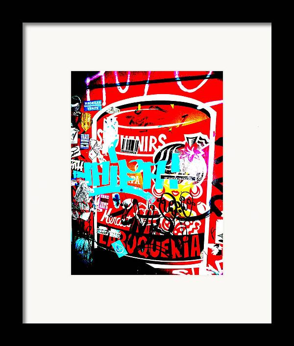 Graffiti Framed Print featuring the photograph Barcelona Street Graffiti by Funkpix Photo Hunter