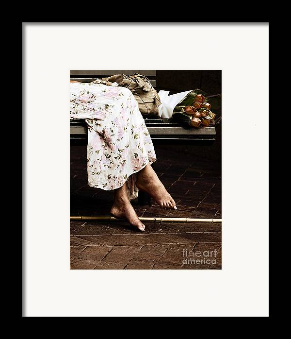 Barefeet Feet Barefoot Tulips Framed Print featuring the photograph Barefoot And Tulips by Sheila Smart Fine Art Photography