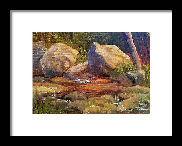 Rocks Framed Print featuring the painting Barely a Trickle by Sharon E Allen