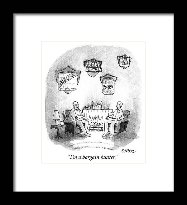 """i'm A Bargain Hunter."" Framed Print featuring the drawing Bargain Hunter by Benjamin Schwartz"