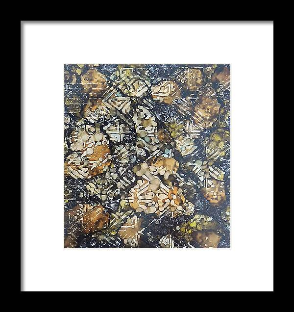 Neutrals Framed Print featuring the painting Bark Batik Ink #22 by Sarajane Helm