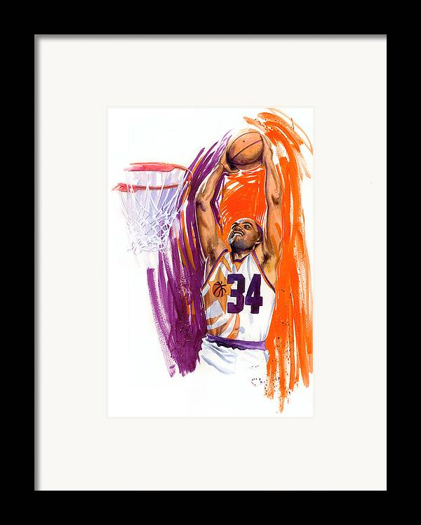 Charles Barkley Framed Print featuring the painting Barkley by Ken Meyer jr