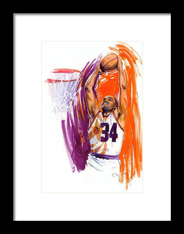 Charles Barkley Framed Print featuring the painting Barkley by Ken Meyer