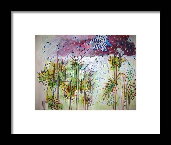 Barly Paintings Framed Print featuring the painting Barly And The Blue Moon by Seon-Jeong Kim