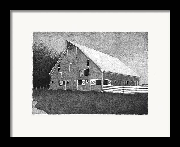 Landscape Framed Print featuring the drawing Barn 11 by Joel Lueck