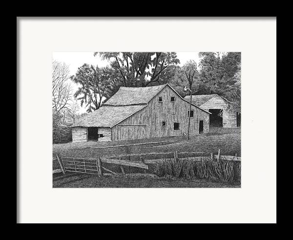 Landscape Framed Print featuring the drawing Barn 14 by Joel Lueck