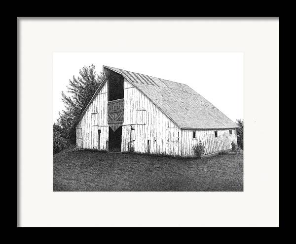 Barn Framed Print featuring the drawing Barn 16 by Joel Lueck