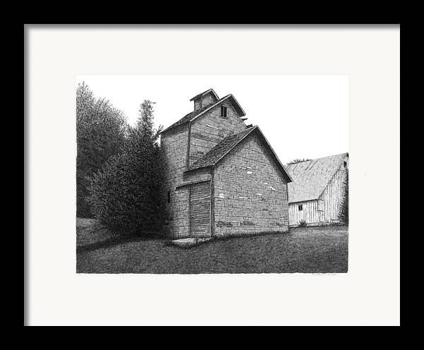 Barn Framed Print featuring the drawing Barn 18 by Joel Lueck