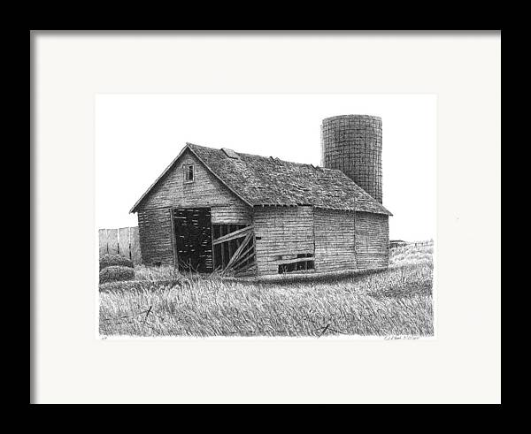 Barn Framed Print featuring the drawing Barn 19 by Joel Lueck