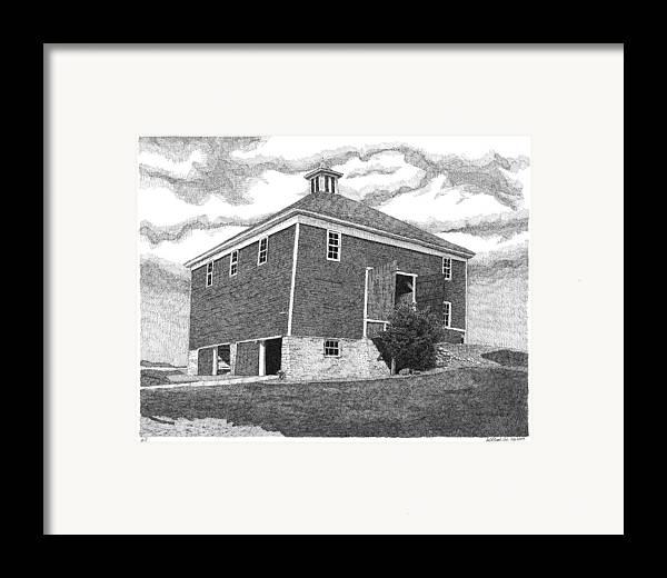 Iowa Barn Framed Print featuring the drawing Barn 7 by Joel Lueck