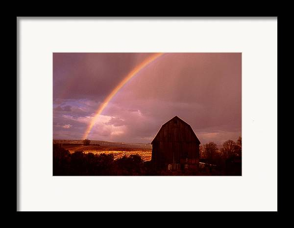 Harvest Framed Print featuring the photograph Barn And Rainbow In Autumn by Roger Soule