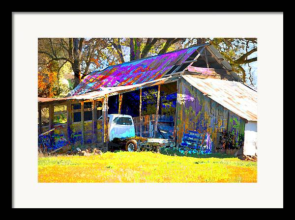 Framed Print featuring the digital art Barn And Truck by Danielle Stephenson