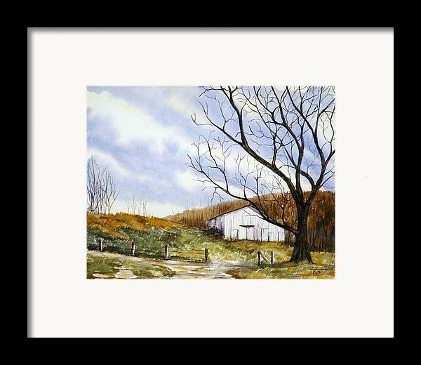 Barn Framed Print featuring the painting Barn At The Stage Stop by Travis Kelley