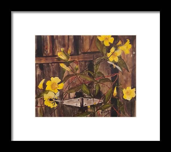 Flower Framed Print featuring the painting Barn Door Hinge by Jean Blackmer