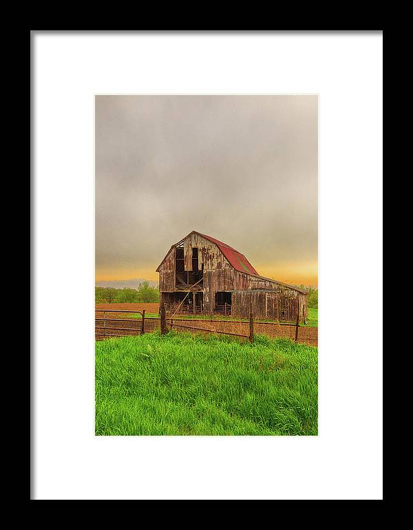 Barn Framed Print featuring the photograph Barn In The Cloudy Sky by Terri Morris