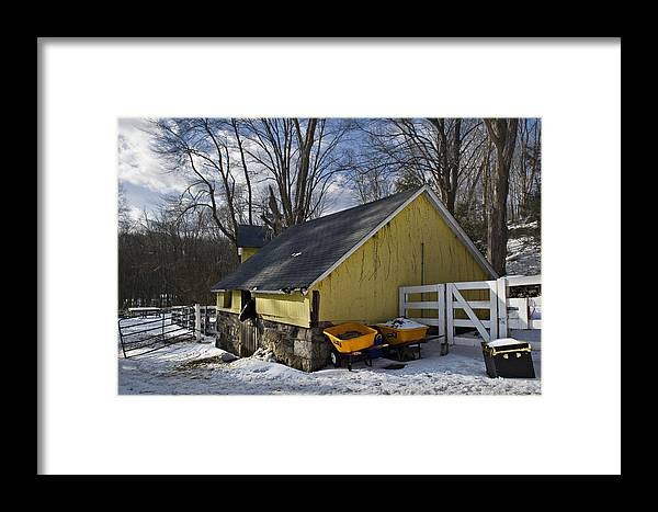 Horse Framed Print featuring the photograph Barn In Winter by Jack Goldberg