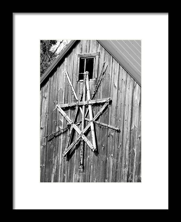 Barn;weathered;wood;star Framed Print featuring the photograph Barn Star by Cynthia Bowen