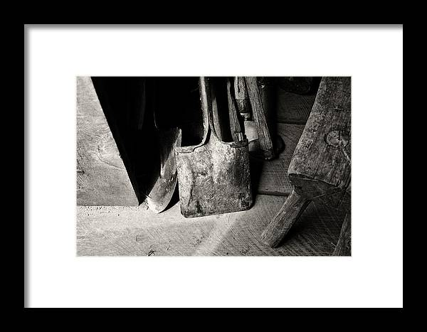 Shovels Framed Print featuring the photograph Barn Tools by Wilma Birdwell