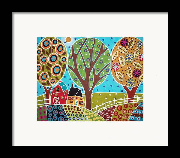 Landscape Framed Print featuring the painting Barn Trees And Garden by Karla Gerard