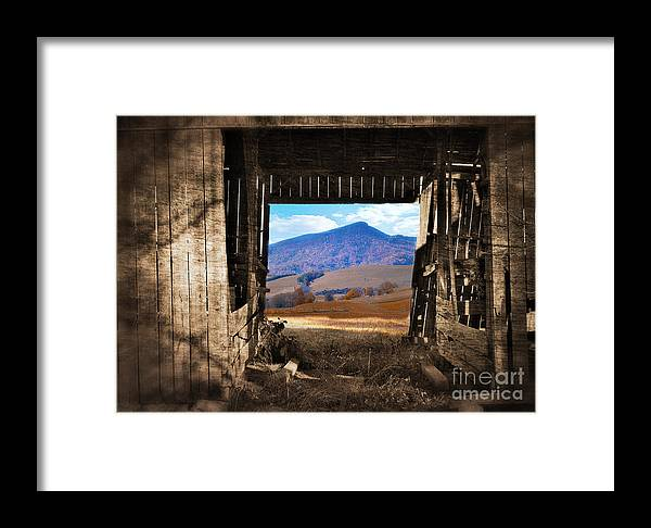 Barn Framed Print featuring the photograph Barn With A View by Kathy Jennings