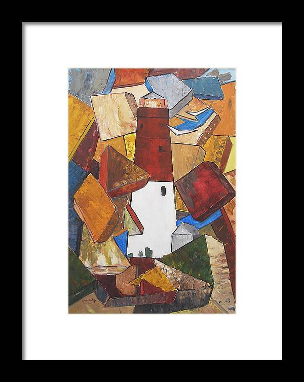 Barnegat Lighhouse Nj Abstract Framed Print featuring the painting barnegat lighthouse I by Miroslaw Chelchowski