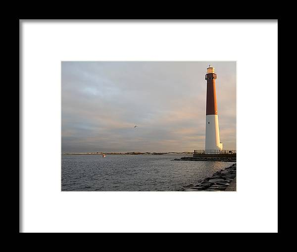 Lighthouse Framed Print featuring the photograph Barnegat Sunrise by Andrew Kazmierski