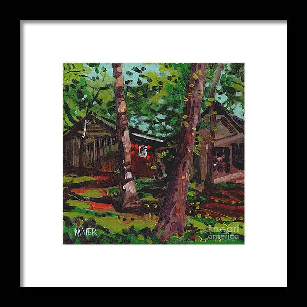 Barns Framed Print featuring the painting Barns by Donald Maier