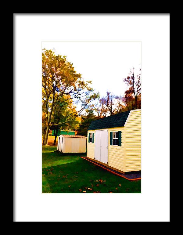 Barns In Autumn Framed Print featuring the painting Barns In Autumn by Jeelan Clark