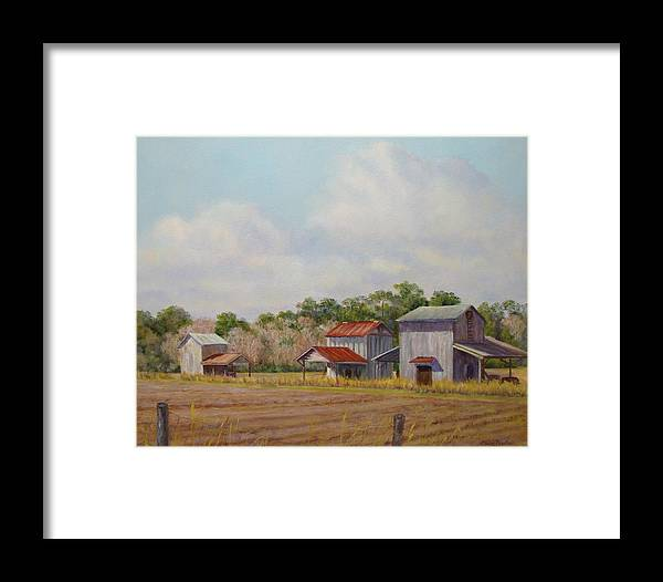 Framed Print featuring the painting Barns Times Three by Elaine Bigelow