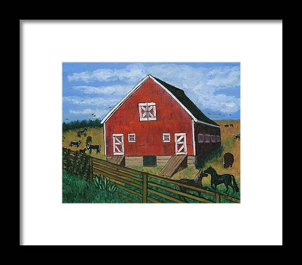 Big Red Barn Surrounded By Horses Framed Print featuring the painting Barnyard On The Prairie by Tanna Lee M Wells