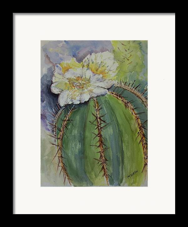 Cactus Framed Print featuring the painting Barrel Cactus In Bloom by Marilyn Barton