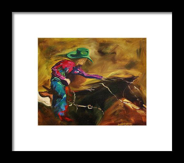 Western Art Framed Print featuring the painting Barrel Racer by Diane Whitehead