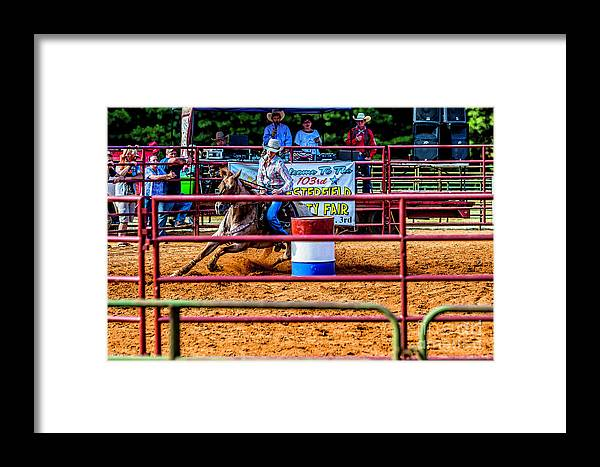 Barrel Racing Contest Framed Print featuring the photograph Barrel Racing Contest 4646 by Doug Berry