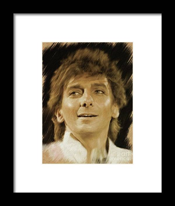 Barry Framed Print featuring the painting Barry Manilow, Music Legend by Mary Bassett