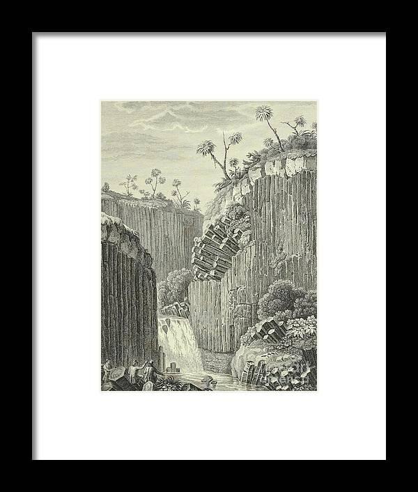 German Framed Print featuring the drawing Basalt Rocks And The Cascade De Regla, by Alexander von Humboldt