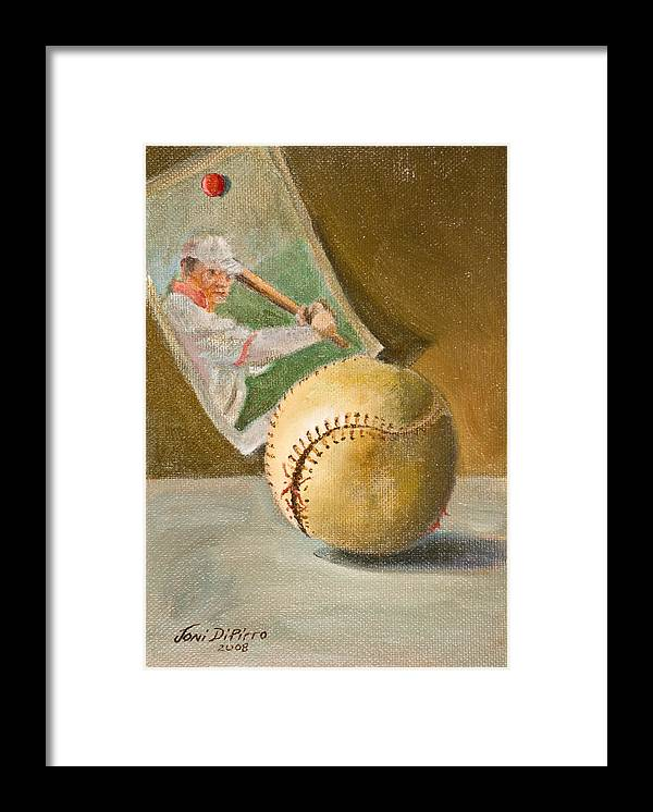Sports Framed Print featuring the painting Baseball And Card by Joni Dipirro