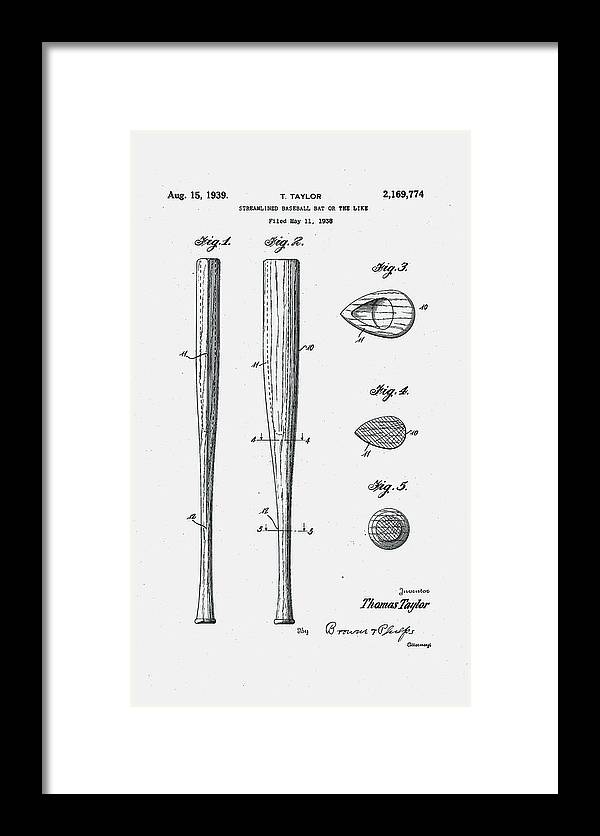 Baseball Framed Print featuring the digital art Baseball Bat Patent 1939 by Claire Doherty